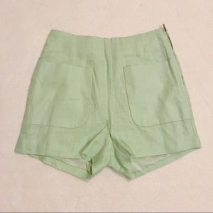 Ark & Co mint mint colored linen shorts